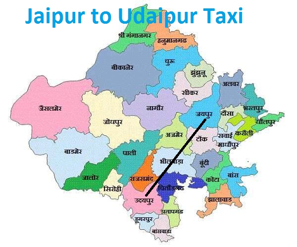 Jaipur to udaipur taxi map